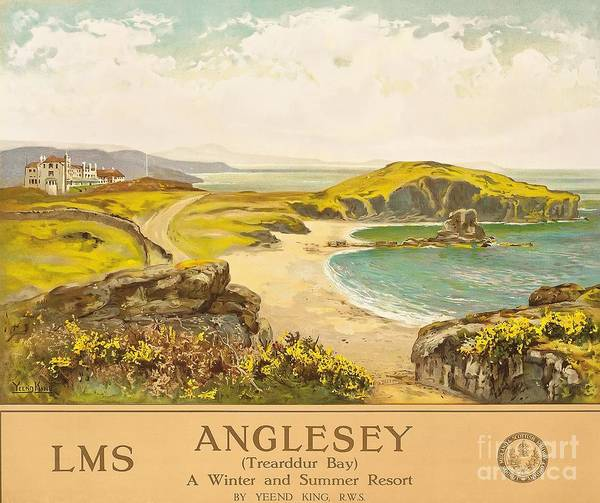 Vintage Train Painting - Anglesey by Henry John Yeend King