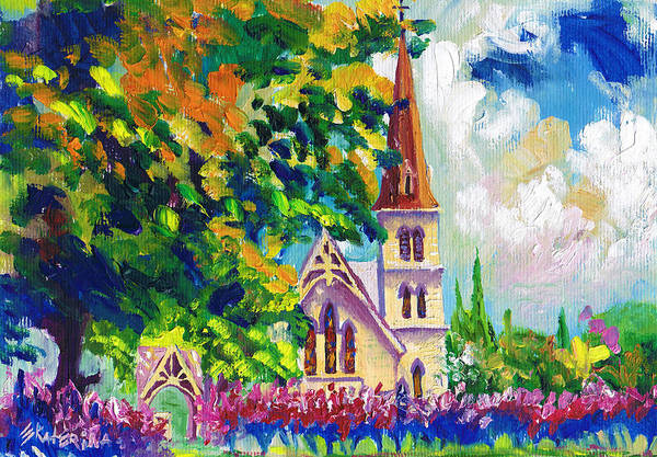 Painting - Anglican White Church In Summer by Ekaterina Chernova