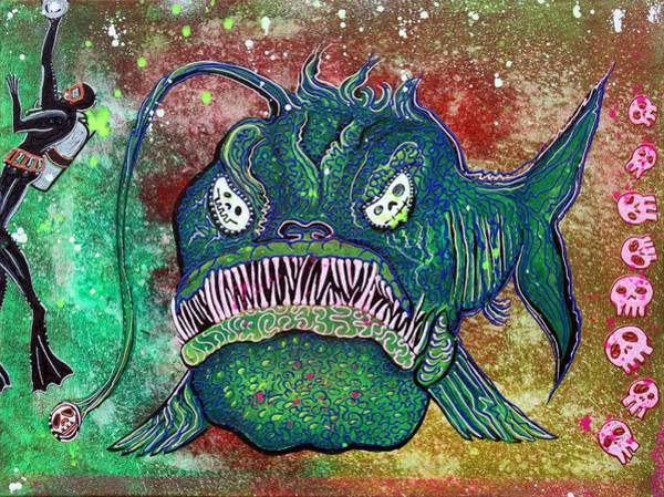 Wall Art - Painting - Angry Angler Andy by Laura Barbosa