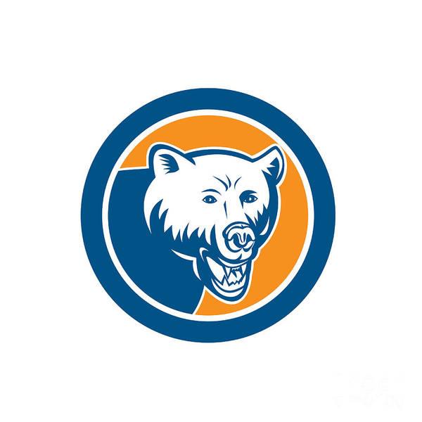 Grizzly Bears Digital Art - Angry Bear Head Circle Retro by Aloysius Patrimonio