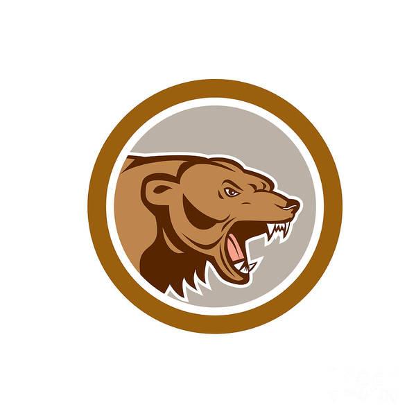 Grizzly Bears Digital Art - Angry Grizzly Bear Head Circle Cartoon by Aloysius Patrimonio