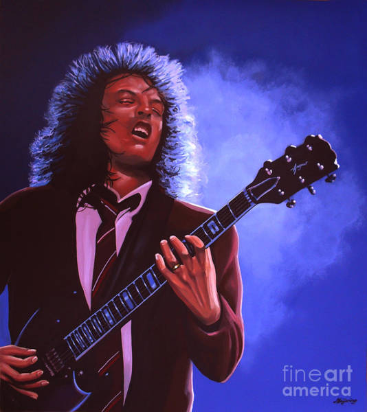 Young Man Wall Art - Painting - Angus Young Of Ac / Dc by Paul Meijering