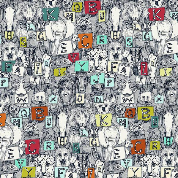 Wall Art - Painting - Animal Abc Indigo Multi by MGL Meiklejohn Graphics Licensing