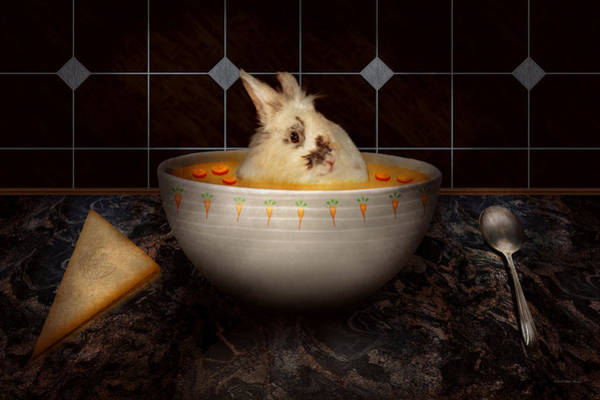 Wall Art - Digital Art - Animal - Bunny - There's A Hare In My Soup by Mike Savad