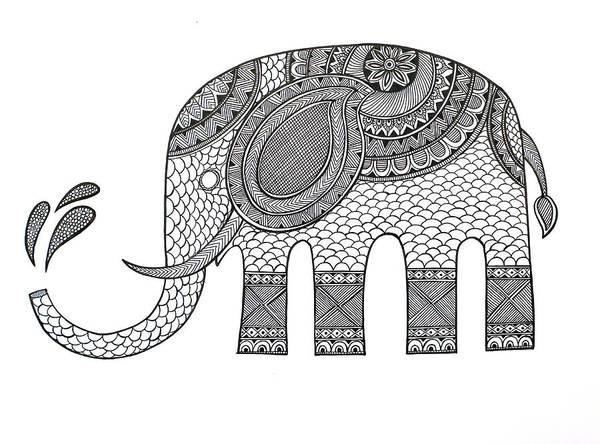 Wall Art - Drawing - Animal Elephant 2 by MGL Meiklejohn Graphics Licensing