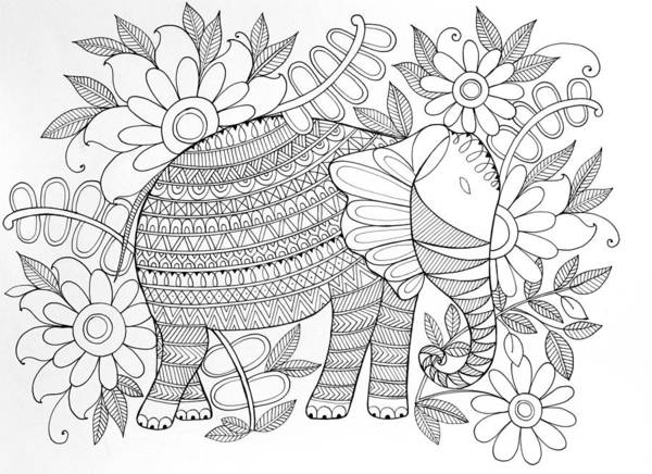 Wall Art - Drawing - Animal Elephant 6 by MGL Meiklejohn Graphics Licensing