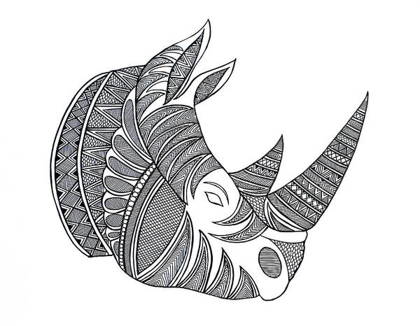 Adult Drawing - Animal Head Hippo by MGL Meiklejohn Graphics Licensing