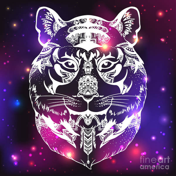 Tiger Digital Art - Animal Head Print For Adult Anti Stress by Anastasia Mazeina
