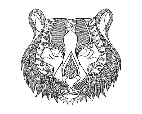 Intricate Drawing - Animal Head Tiger by MGL Meiklejohn Graphics Licensing