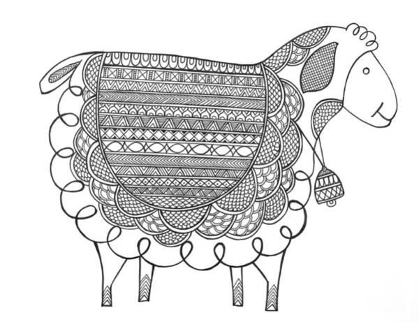 Intricate Drawing - Animal Sheep 2 by MGL Meiklejohn Graphics Licensing