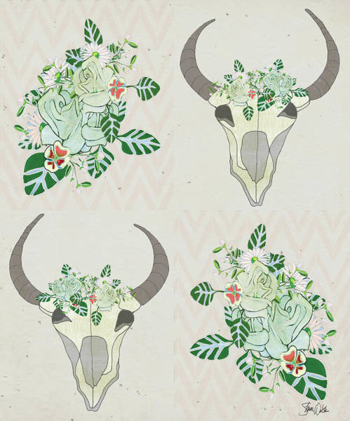 Wall Art - Painting - Animal Skull Botanicals Pattern by Shanni Welsh