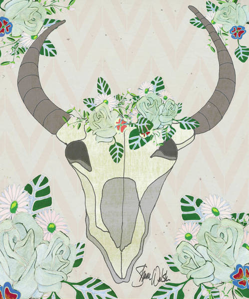 Wall Art - Painting - Animal Skull Botanicals by Shanni Welsh