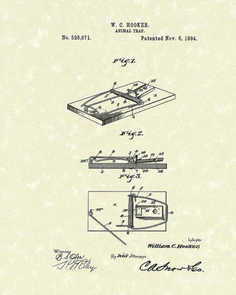 Drawing - Animal Trap 1894 Patent Art by Prior Art Design