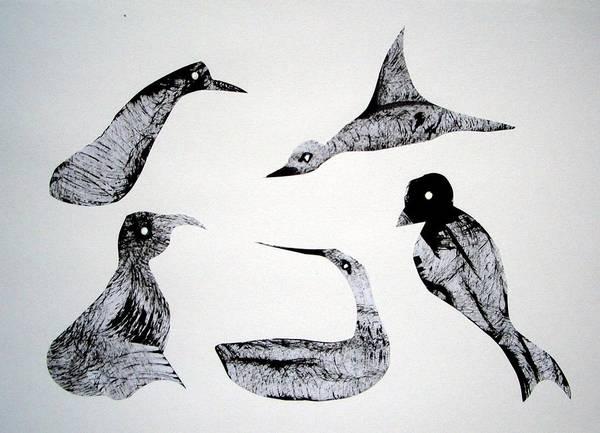 White Goose Drawing - Animal World 120721-2 by Aquira Kusume
