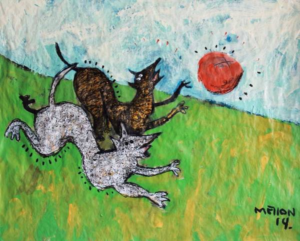 Playful Painting - Animalia Dogs Playing In A Field  by Mark M  Mellon