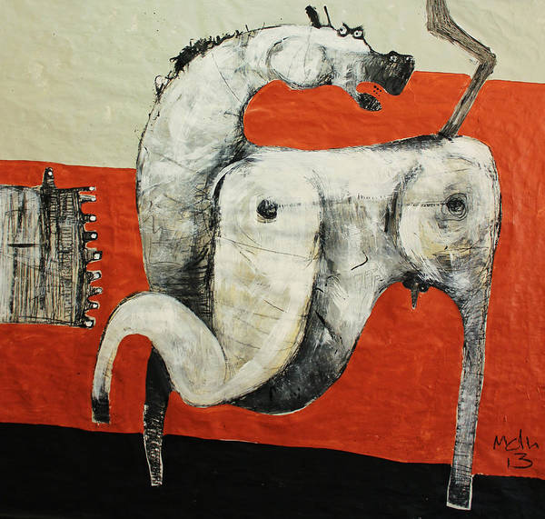 Outsider Art Painting - Animalia  Equos No 3 by Mark M  Mellon