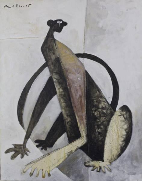Monkey Wall Art - Painting - Animalia Sitting Monkey  by Mark M  Mellon