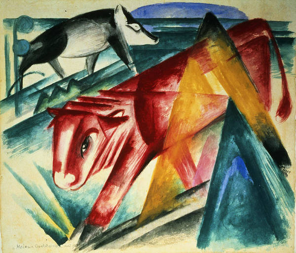 Expressionist Photograph - Animals, 1913 Wc On Paper by Franz Marc