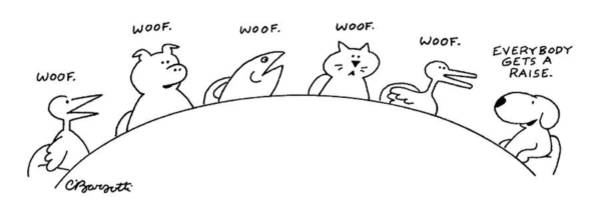 Cats Drawing - Animals Are Seen Sitting Around A Conference by Charles Barsotti