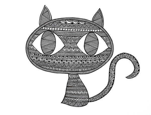 Wall Art - Drawing - Animals Cat 2 by MGL Meiklejohn Graphics Licensing