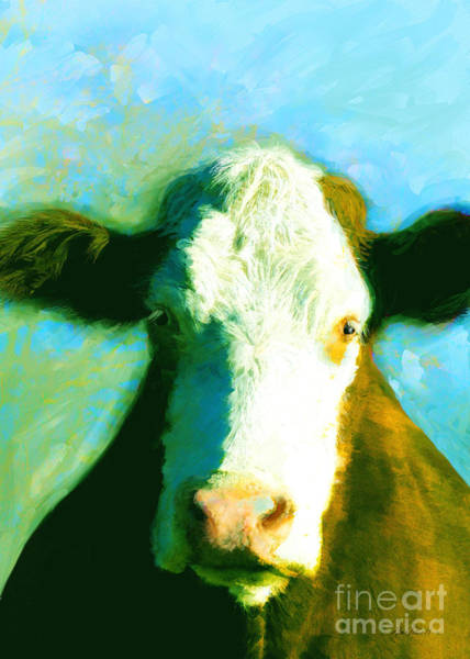 Teal Mixed Media - Animals Cows Sun And Shadow Painting By Ann Powell by Ann Powell