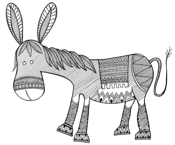 Wall Art - Drawing - Animals Donkey by MGL Meiklejohn Graphics Licensing