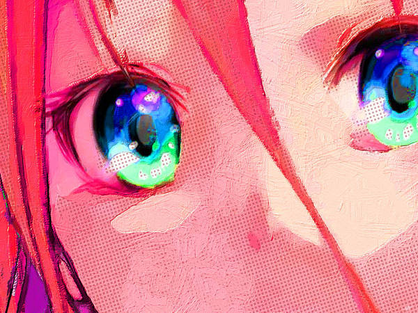 Painting - Anime Girl Eyes Red by Tony Rubino