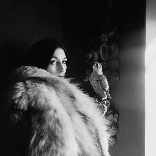 Copy Photograph - Anjelica Huston Wearing A Fur Coat by Arnaud de Rosnay