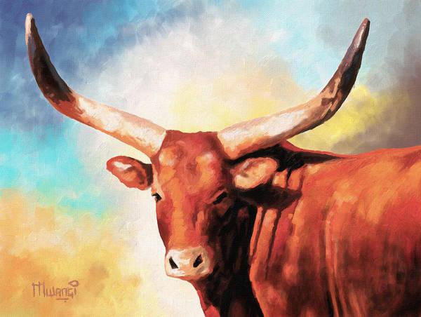 Longhorn Painting - Ankole Bull by Anthony Mwangi