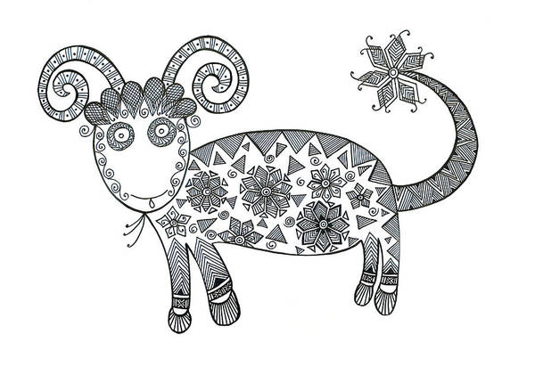 Wall Art - Drawing - Anmal Sheep 1 by MGL Meiklejohn Graphics Licensing