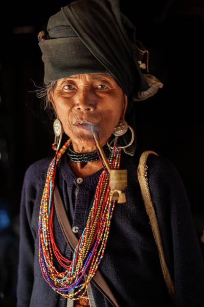 Real People Photograph - Ann Tribe Woman, Kyaing Tong, Golden by Peter Adams
