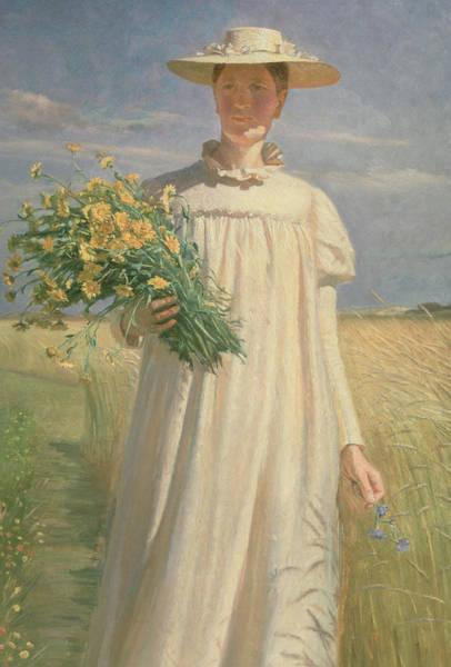 Dgt Wall Art - Photograph - Anna Ancher Returning From Flower Picking, 1902 by Michael Peter Ancher