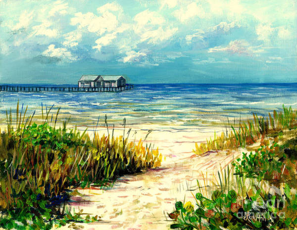 Wall Art - Painting - Anna Maria Island Pier by Lou Ann Bagnall