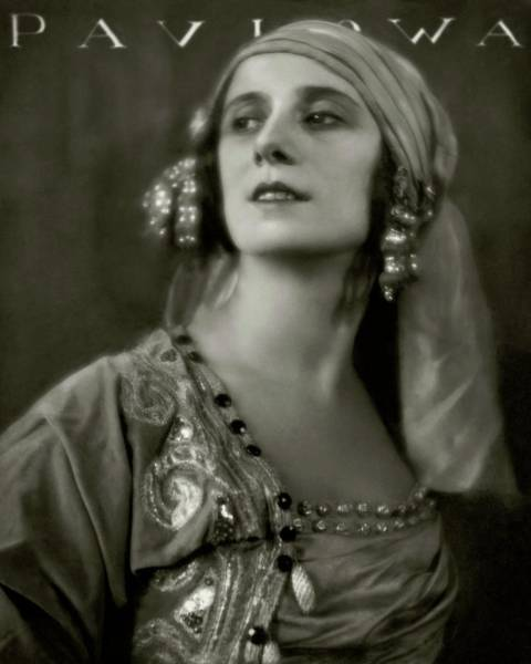 Photograph - Anna Pavlova Wearing An Ornate Dress by Eugene Hutchinson