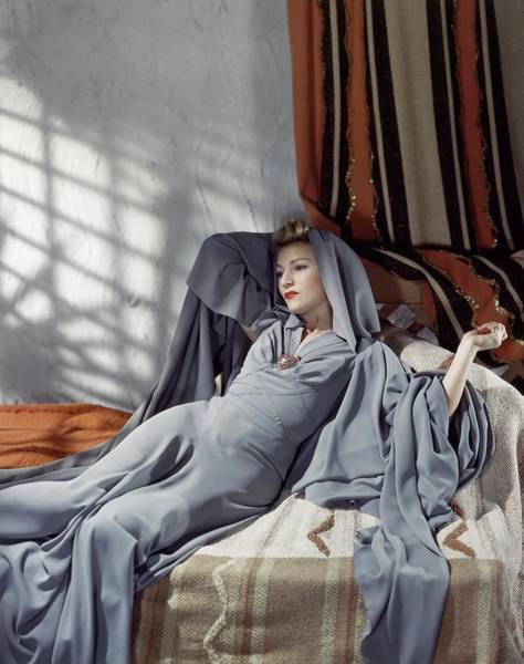 Photograph - Annabella Wearing A Gray Crepe Dress by Horst P. Horst