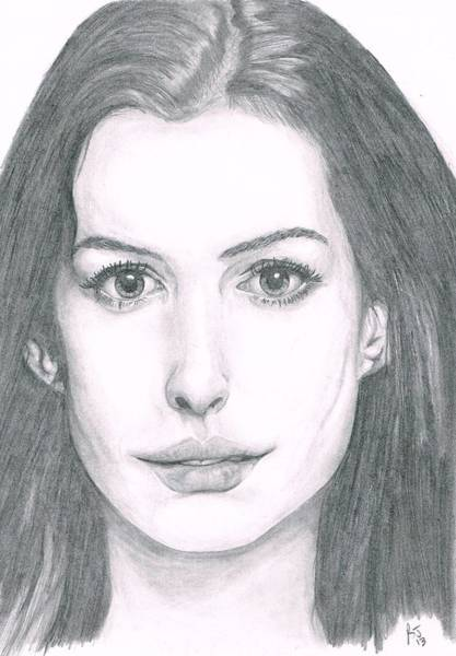 Miserable Drawing - Anne Hathaway by Ryan Jacobson