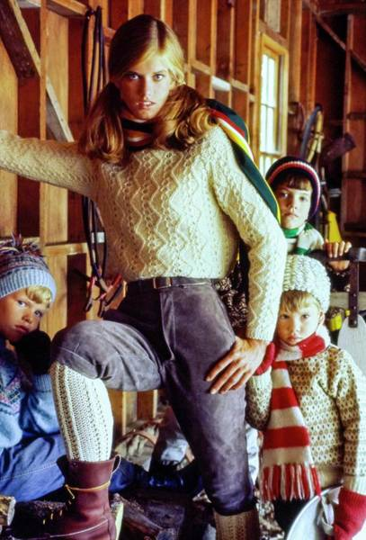 Four People Photograph - Anne Huges Wearing A Wool Fisherman's Sweater by Sante Forlano