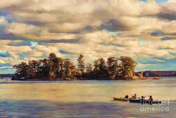 Paddle Digital Art - Anne Lacys Hamlin Lake by Lianne Schneider and Anne Lacy