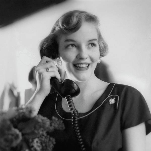 Telephone Receiver Photograph - Anne Schroeder Anderson With A Telephone by Karen Radkai