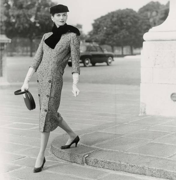 Auto Photograph - Anne St. Marie Wearing A Balenciaga Dress by Henry Clarke