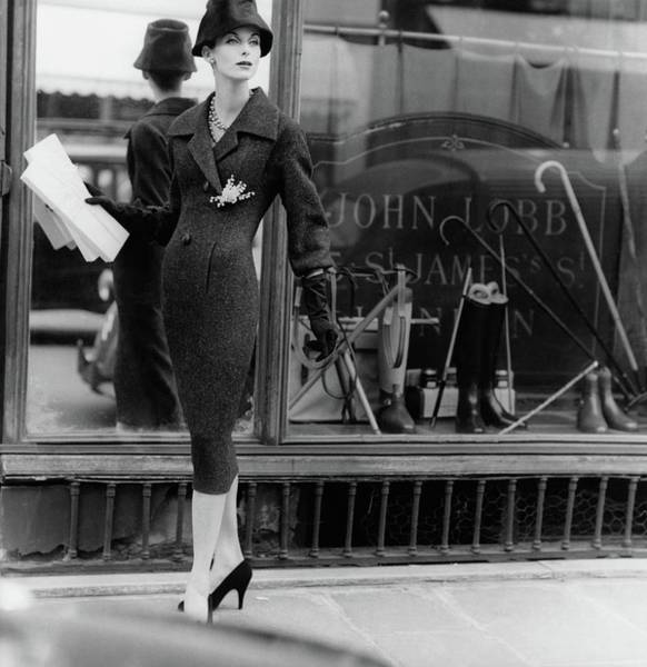 Window Photograph - Anne St. Marie Wearing A Dior Coat by Henry Clarke