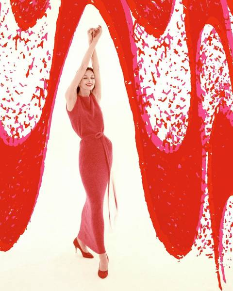 White Background Photograph - Anne St. Marie Wearing A Goldworm Dress by William Bell