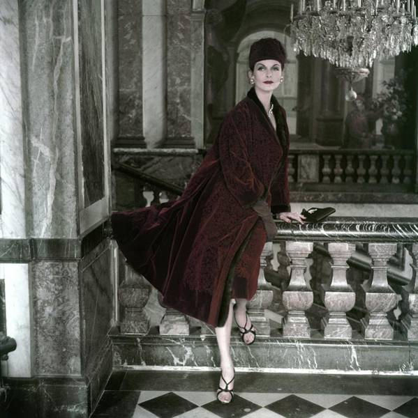 Red Coat Photograph - Anne St. Marie Wearing A Red Velvet Coat By Dior by Henry Clarke