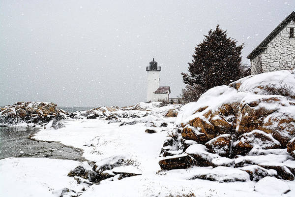 Photograph - Annisquam Light-snow Storm by Michael Hubley