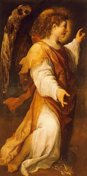 16th Century Painting - Announcing Angel by Annibale Carracci