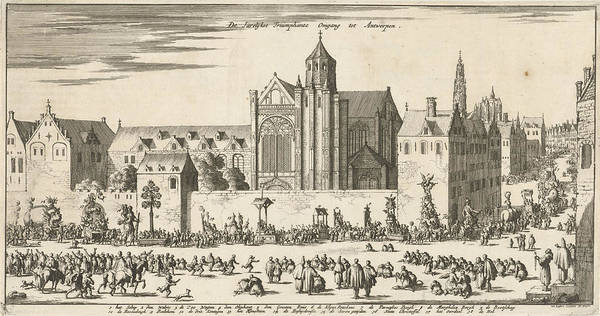Bethlehem Drawing - Annual Procession In Antwerp, Belgium by Jan Luyken