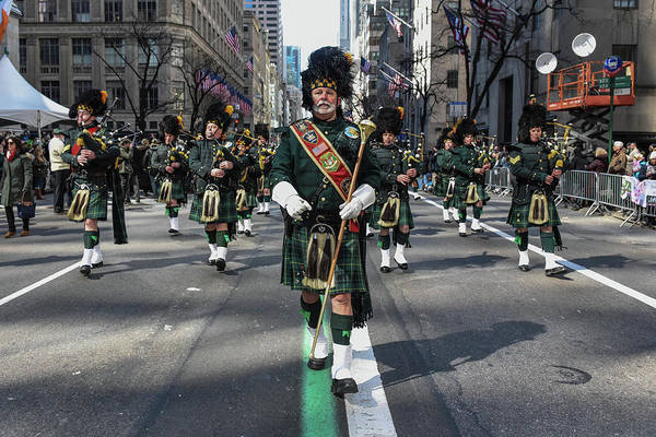 Marching Photograph - Annual St. Patricks Day Parade Marches by Stephanie Keith