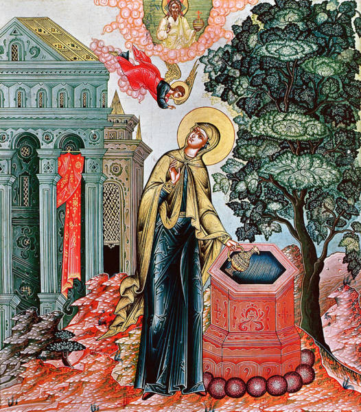 Gabriel Painting - Annunciation At The Fountain by Russian School