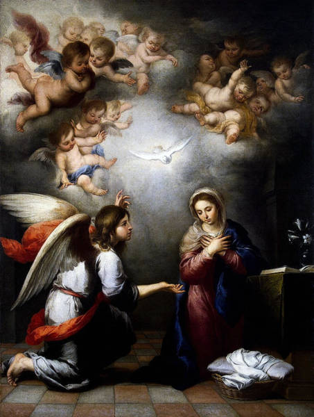 Digital Art - Annunciation by Esteban Murillo