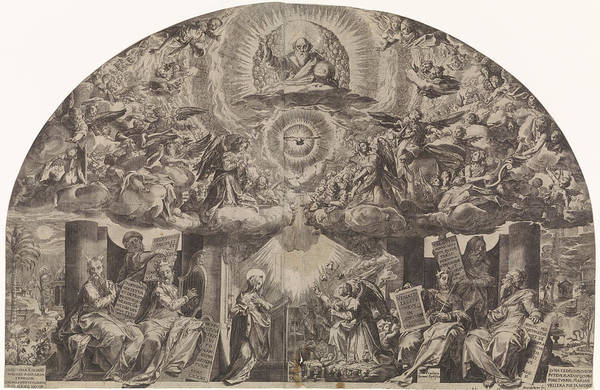 Garden Wall Drawing - Annunciation, Paulus Mondekens, Cornelis Cort by Paulus Mondekens And Cornelis Cort And Federico Zuccaro
